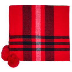 Large Tartan Scarf With Pompom