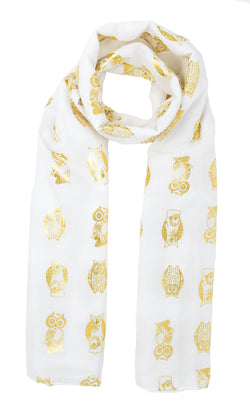 Large Gold Owls Scarf