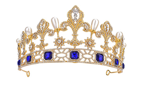 Royal Tiara with Blue Stones
