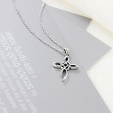Sterling Silver Celtic Knot Cross Necklace