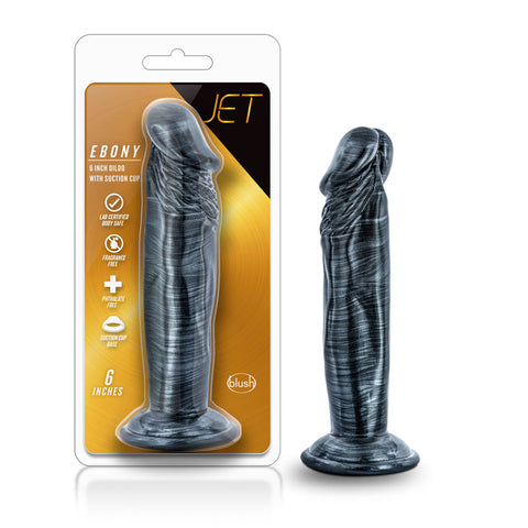 Jet - Ebony - 6 Inch Dildo - Carbon Metallic Black