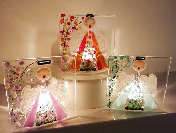 Glass Angel Tea Lights
