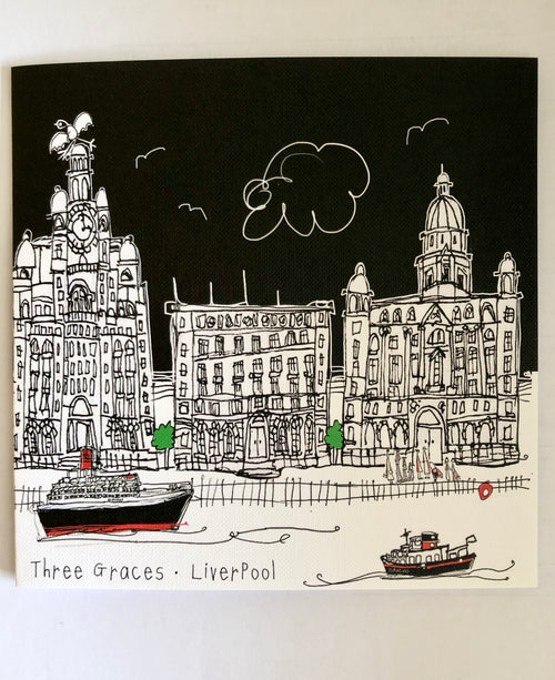 Three Graces Liverpool - Greetings Card