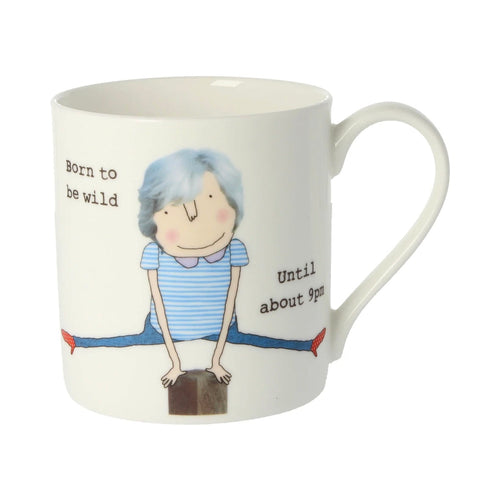 Born to be wild until about 9pm - Large Bone China Mug