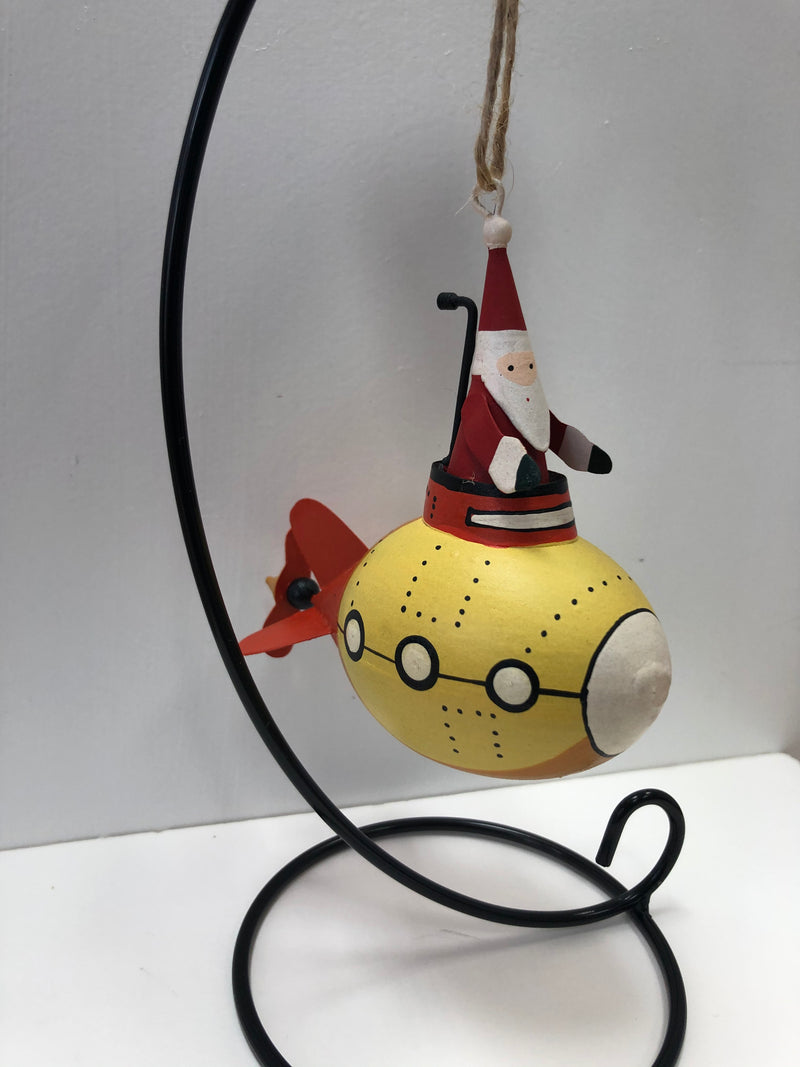Santa in a Yellow Submarine - Hanging Decoration