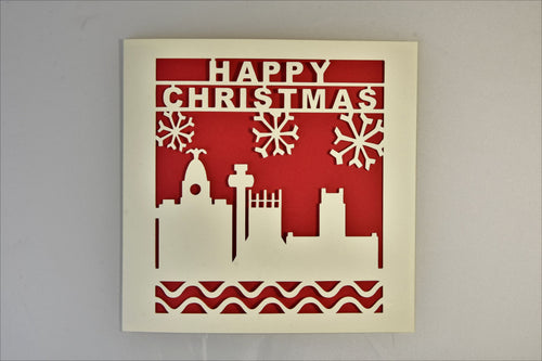 Liverpool Waterfront Paper-Cut Christmas Card