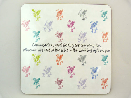 Liver Bird Placemats - Conversation, good food, great company