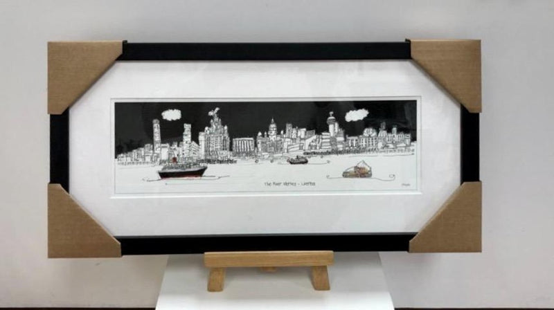 The River Mersey with Dazzle Ferry Print - by Freida McKitrick