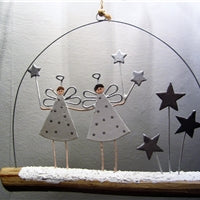 Winter Angels on a Branch - Hanging Decoration