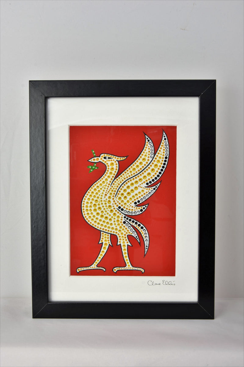 Framed Liver bird by dot artist clare ellis