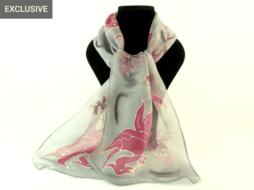 Hand Painted Liver Bird Silk Scarf - Grey/Pink and Grey/Red