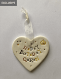Happy Birthday Queen - Ceramic Heart