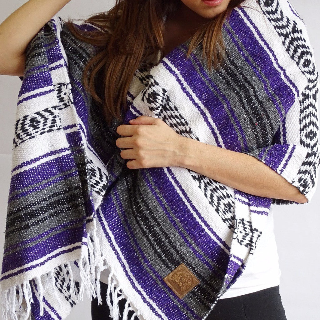 Cotton Throw - Yoga Blanket - Handwoven in a Loom - Crude, Black, Violet, and Purple