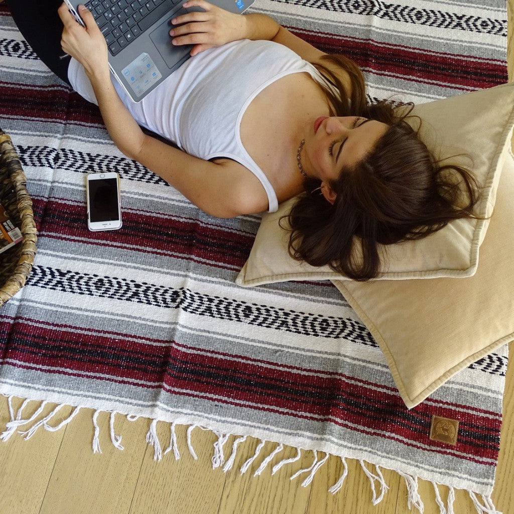 Cotton Throw - Yoga Blanket - Handwoven in a Loom - Crude, Black, Wine, and Light-Grey