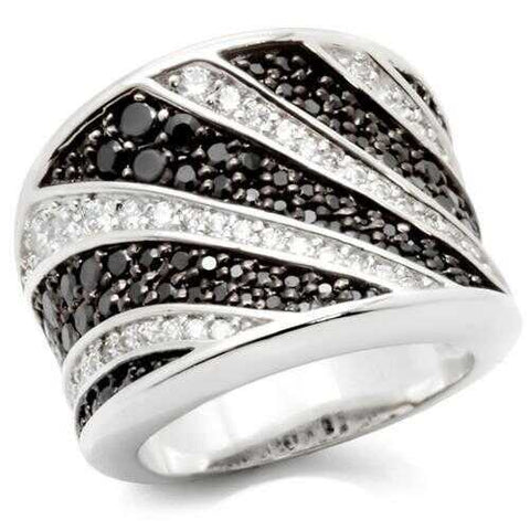 0W242 - Brass Ring Rhodium + Ruthenium Women AAA Grade CZ Jet