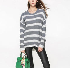 Stripe Relaxed Fit Round Neck Premium Sweater