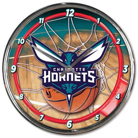 Charlotte Hornets Clock Round Wall Style Chrome