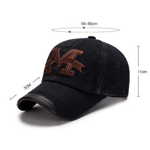 Men Washed Cotton M Embroidery Baseball Cap