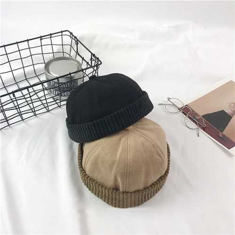 Men Women Winter Fleece Rolled Cuff Brimless Hat