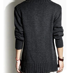 Men's High Collar Cardigan in Gray
