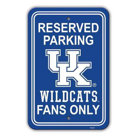 Kentucky Wildcats Reserved Parking 12x18 Plastic Sign