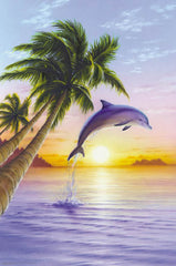 Jumping Dolphin Sunrise 24x36 Premium Poster