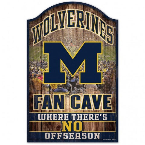Michigan Wolverines Sign 11x17 Wood Fan Cave Design