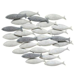 Gray School Of Fish Metal Wall Decor
