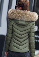 Women's Army Green Hooded Slim Fit Winter Zip Up Short Coat