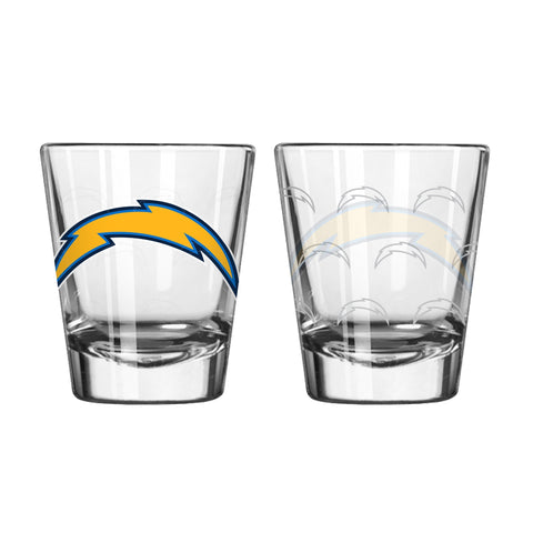 Los Angeles Chargers Shot Glass Satin Etch Style 2 Pack