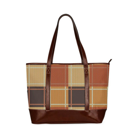 Brown Checker Style Tote Bag