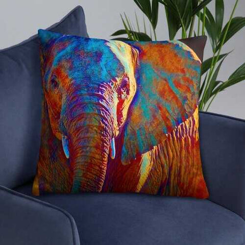 Colorful Elephant Print Accent Pillow