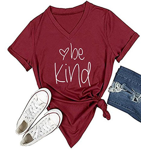 Womens Be Kind Casual Cotton Short Sleeve Top