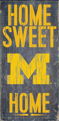 Michigan Wolverines Home Sweet Home 6x12 Wood Sign