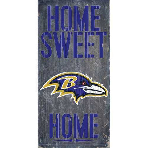 Baltimore Ravens Home Sweet Home 6x12 Wood Sign