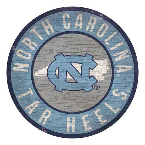 North Carolina Tar Heels Sign Wood 12 Inch Round State Design Special Order
