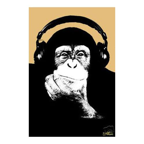 Headphone Monkey 24x36 Premium Poster