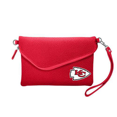 Kansas City Chiefs Purse Pebble Fold Over Crossbody Light Red Special Order