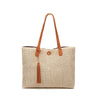 Image of Vegan Leather Trimmed Tote with Tassle
