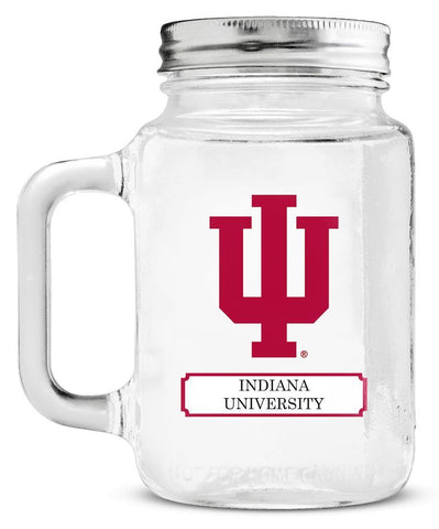 Indiana Hoosiers Mason Jar Glass With Lid