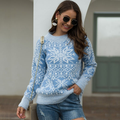 Women's Snowflake Knitted Long Sleeve Pullover