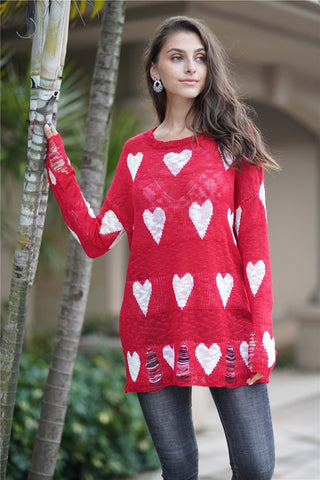Ripped Heart Women's Long Sleeve Fall Knitted Pullover