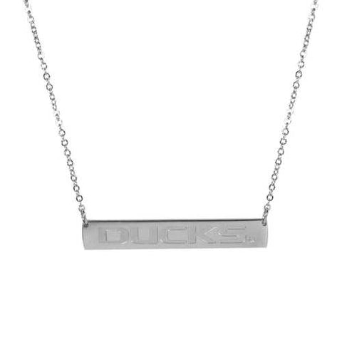 Oregon Ducks Casual Etched Silver Necklace