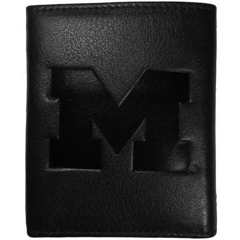 Michigan Wolverines Embossed Leather Trifold Wallet