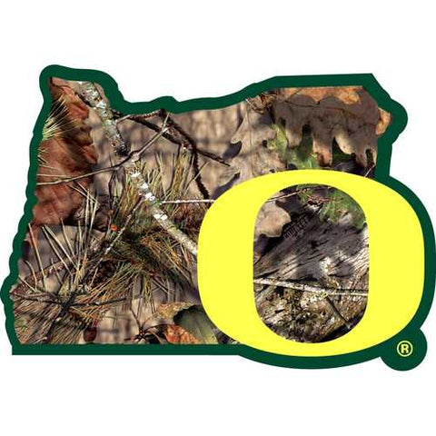 Oregon Ducks State Decal w/Mossy Oak Camo
