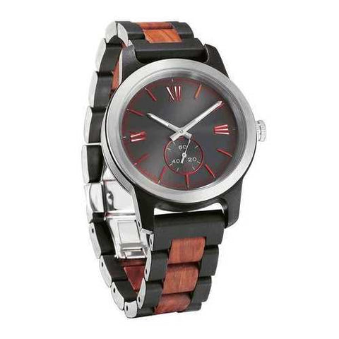 Men's Handcrafted Engraving Ebony & Rose Wood Watch