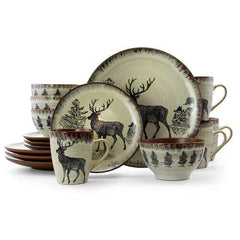 Elama Majestic Elk 16 Piece Luxurious Stoneware Dinnerware