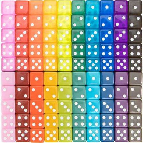 Vintage Assorted Dice, 100-pack