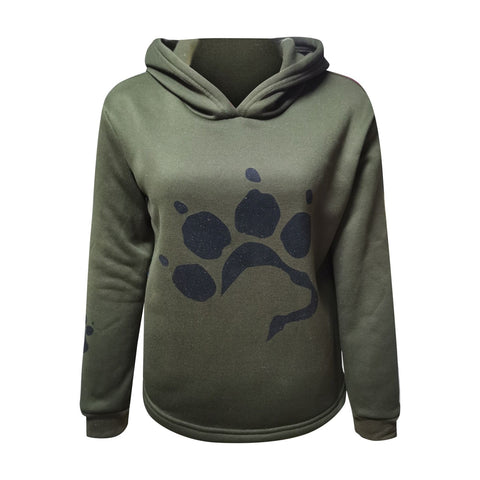 Lightweight Casual Dog Paw Print Long Sleeve Pullover Hoodie