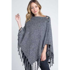 Women's V-Shaped Fringe Poncho with Buttons